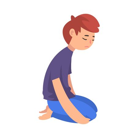 Unhappy Sad Boy Kneeling on Floor, Depressed, Lonely, Anxious, Abused Teenager Having Problems Vector Illustration Stock Illustratie