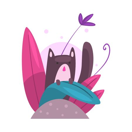Cute Cat Hiding and Peeking Out of Colorful Dense Grass Vector Illustration