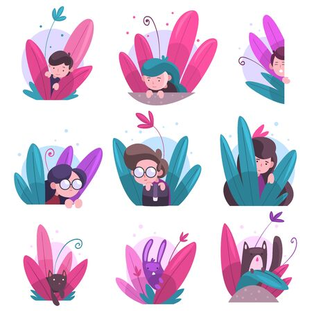 Cute Boys, Girls and Animals Hiding in Bushes Set, Adorable Kids, Cats and Bunny Peeking Out of Colorful Dense Grass Vector Illustration