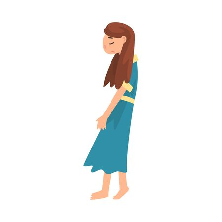 Depressed Unhappy Girl, Stressed Teenager, Lonely, Anxious, Abused Girl Vector Illustration