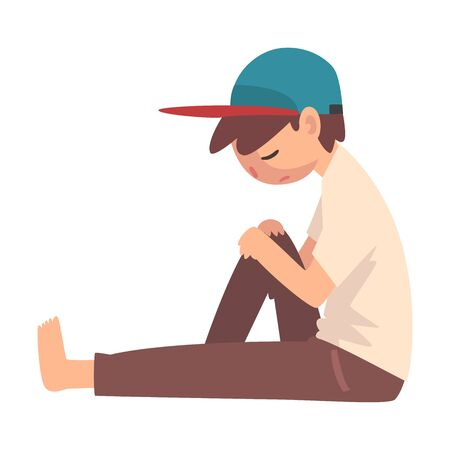 Depressed Boy Sitting on Floor, Unhappy Stressed Teenager, Lonely, Anxious, Abused Boy Vector Illustration Фото со стока - 127906989