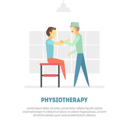 Male Patient Receiving Physical Therapy, Physiotherapy, Rehabilitation Banner Template, Orthopedic Exercises for People after Injuries Vector Illustration