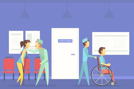 Rehabilitation Center, Medical Clinic, Physiotherapist Doctors Helping People after Injuries Vector Illustration, Web Design. Illustration