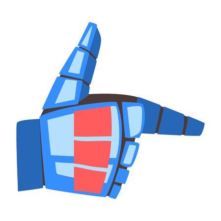 Robot Hand Gun Gesture, Mechanical Palm Pointer, Artificial Intelligence Vector Illustration on White Background. Illustration