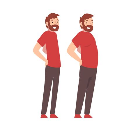 Bearded Man Before and After Weight Loss, Male Body Changing Through Healthy Nutrition or Sports Vector Illustration on White Background.