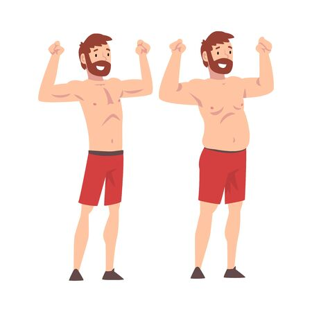Fat and Slim Man, Bearded Man Before and After Weight Loss, Male Body Changing Through Healthy Nutrition or Sports Vector Illustration on White Background. 일러스트