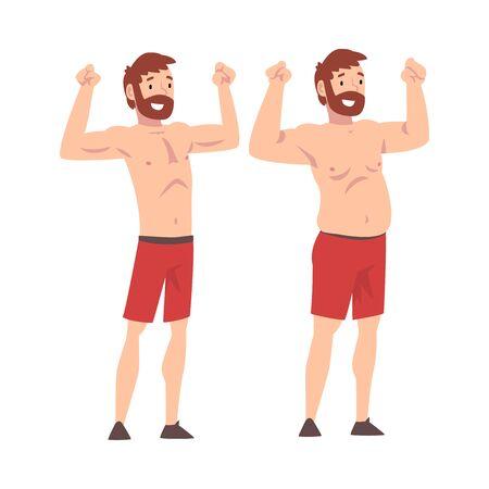 Uomo grasso e magro, uomo barbuto prima e dopo la perdita di peso, corpo maschile che cambia attraverso una sana alimentazione o illustrazione vettoriale di sport su priorità bassa bianca. Vettoriali