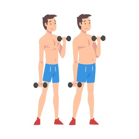 Male Athlete Exercising with Dumbbells, Guy Before and After Weight Loss, Male Body Changing Through Healthy Nutrition or Sports Vector Illustration on White Background.