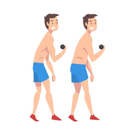Male Athlete Exercising with Dumbbells, Smiling Guy Before and After Weight Loss, Male Body Changing Through Diet or Sports Vector Illustration Illustration