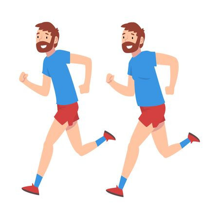 Man in Sportswear Running, Guy Before and After Weight Loss Doing Sports, Male Body Changing Through Healthy Nutrition or Sports Vector Illustration on White Background.