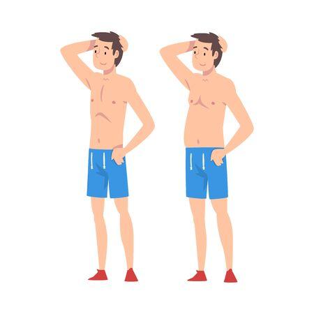 Hombre joven antes y después de la pérdida de peso, chico en pantalones cortos, cambio de cuerpo masculino a través de una nutrición saludable o ilustración vectorial deportiva sobre fondo blanco.