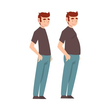 Man Wearing Casual Clothes Before and After Weight Loss, Male Body Changing Through Healthy Nutrition or Sports Vector Illustration on White Background.