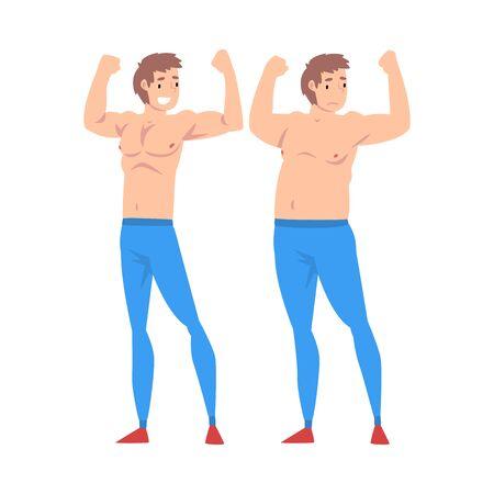 Uomo grasso e magro, ragazzo prima e dopo la perdita di peso, corpo maschile che cambia attraverso una sana alimentazione o illustrazione vettoriale di sport su sfondo bianco. Vettoriali