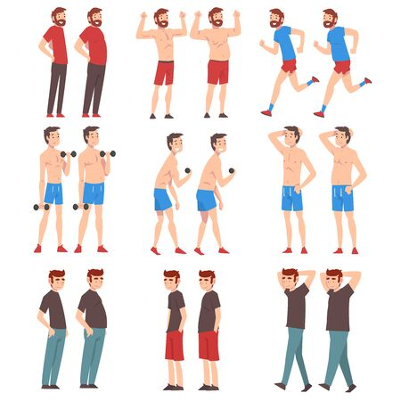 Fat and Slim Men Set, Guys Before and After Weight Loss, Male Bodies Changing Through Healthy Nutrition or Sports Vector Illustration on White Background.
