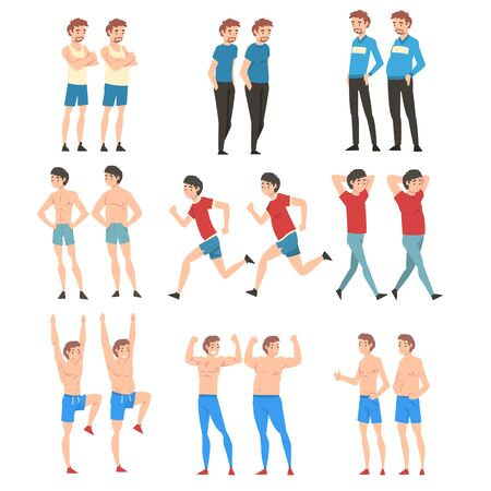 Men Before and After Weight Loss Set, Guys Changing Through Healthy Nutrition or Sports Vector Illustration