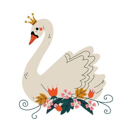 Bella principessa cigno bianco con corona d'oro e fiori, illustrazione vettoriale di uccello da favola incantevole su sfondo bianco.