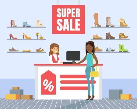 Femme choisissant et achetant des chaussures en magasin, intérieur de magasin de chaussures, fille faisant des emplettes dans l'illustration de vecteur de centre commercial