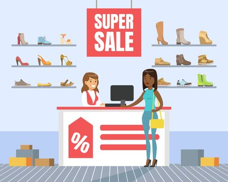 Woman Choosing and Buying Shoes in Store, Shoes Store Interior, Girl Shopping in Mall Vector Illustration