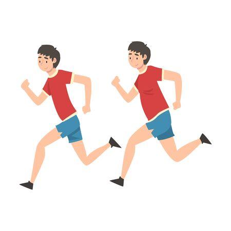 Uomo in corsa di abbigliamento sportivo, ragazzo prima e dopo la perdita di peso, corpo maschile che cambia attraverso una sana alimentazione o illustrazione vettoriale di sport su priorità bassa bianca.