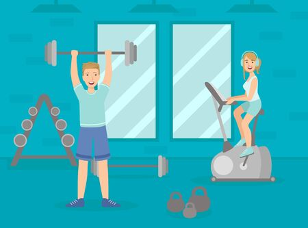Athletic People Doing Sport Exercises, Man Exercising with Barbell, Woman Working Out on Exercise Bike, Sport Gym Interior with Workout Equipment Vector Illustration, Web Design.