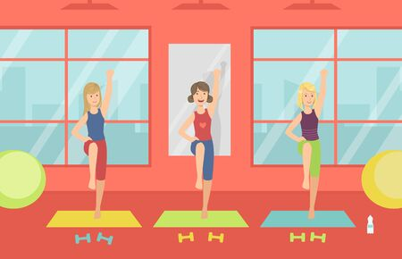 Young Women Doing Aerobic Exercises in Gym, Healthy Lifestyle, Sport Gym Interior with Workout Equipment Vector Illustration, Web Design.