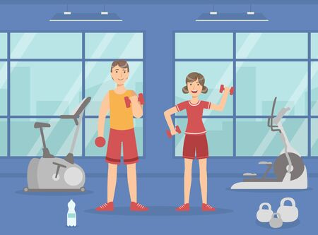 Athletic Man and Woman Exercising with Dumbbells, Sport Gym Interior with Workout Equipment Vector Illustration, Web Design. Ilustracja