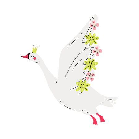Hermosa princesa cisne voladora blanca con corona dorada y alas decoradas con flores, hermosa ilustración de vector de reina de pájaro de cuento de hadas sobre fondo blanco. Ilustración de vector