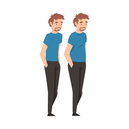 Young Man Before and After Weight Loss, Male Body Transformation Vector Illustration on White Background. Illusztráció