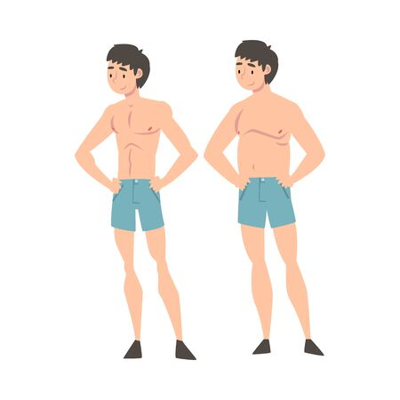 Young Man in Underwear Before and After Weight Loss, Male Body Changing Through Healthy Nutrition or Sports Vector Illustration on White Background. Illustration