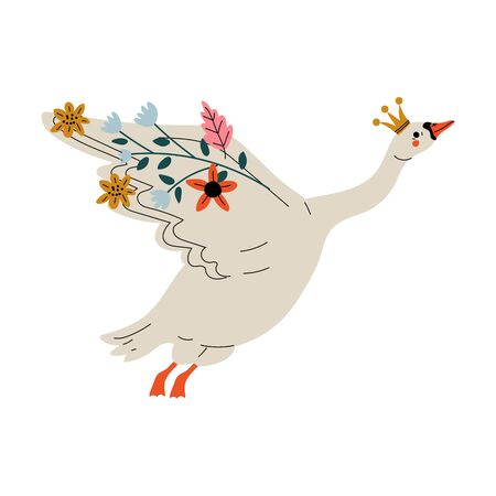 Beautiful White Flying Swan Princess with Golden Crown and Flowers, Lovely Fairytale Bird Vector Illustration on White Background. Illustration