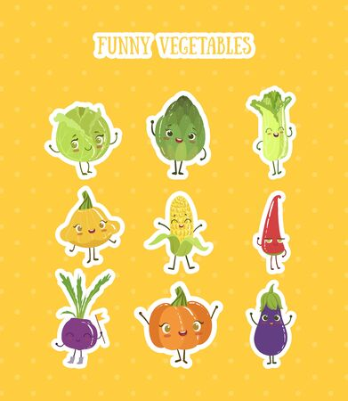 Collection of Fruits and Vegetables Stickers Set, Cabbage, Pepper, Squash, Pumpkin, Eggplant, Artichoke Characters with Funny Faces Vector Illustration on Yellow Background. 向量圖像