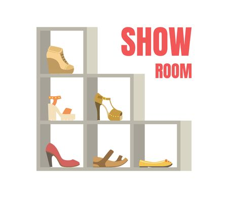 Show Room Banner Template, Female Footwear on Shelves, Shoes Store Interior Vector Illustration, Web Design.