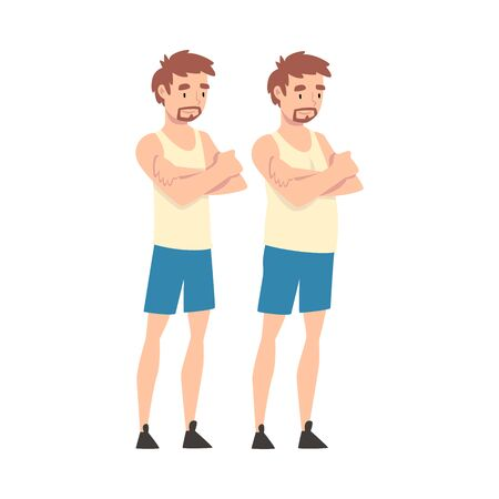 Man Before and After Weight Loss, Male Body Changing Through Healthy Nutrition or Sports Vector Illustration on White Background.