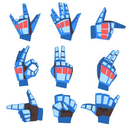 Robot Hand Showing Various Gestures Set, Mechanical Palm Gesturing, Artificial Intelligence Vector Illustration on White Background.