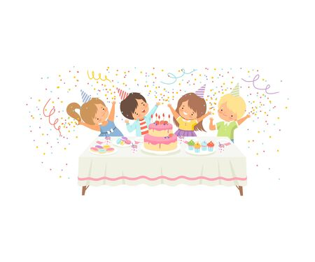 Cute Boys and Girls Having Fun at Festive Table with Cake and Confetti, Happy Birthday Party Celebration Vector Illustration on White Background.
