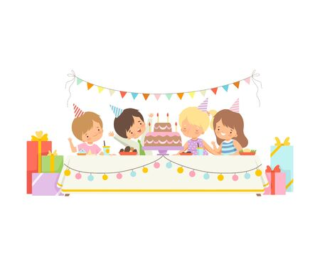 Cute Boys and Girls in Party Hats Sitting at Festive Table, Adorable Girl Blowing Candles on Festive Cake, Happy Birthday Party Celebration Vector Illustration on White Background.