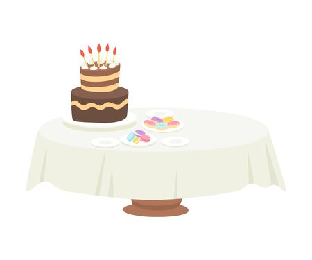 Festive Table with White Tablecloth Setting with Chocolate Cake with Candles and Macaroons Vector Illustration on White Background.