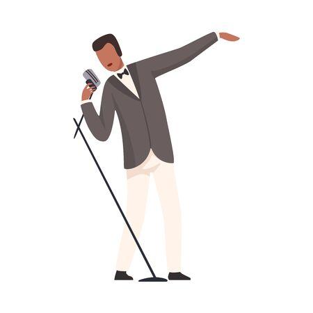 Male Jazz Singer Wearing Elegant Suit Performing Song Vector Illustration on White Background.