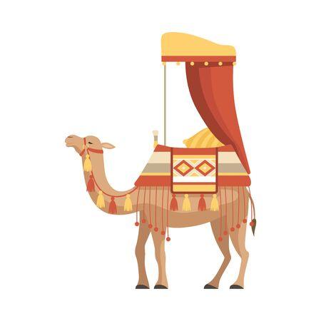 Animal del desierto de camello con brida y silla de montar decorado con adornos étnicos ilustración vectorial sobre fondo blanco.