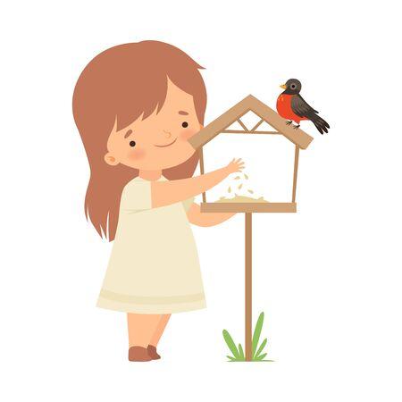 Cute Little Girl alimentazione ciuffolotto con mais, bambino adorabile che si prende cura di animali Cartoon illustrazione vettoriale su sfondo bianco. Vettoriali