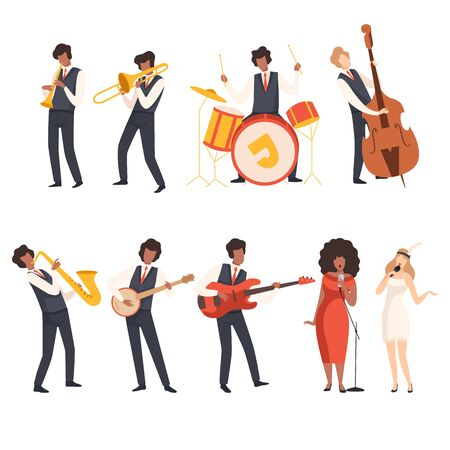 Jazz Band Group, Musicians Singing and Playing Trumpet, Banjo, Saxophone, Trombone, Drums, Guitar, Double Bass, Vector Illustration on White Background.