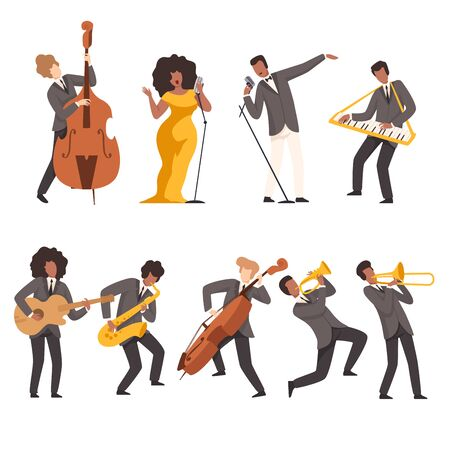 Jazz Band Group, Musicians Singing and Playing Trumpet, Keyboard, Saxophone, Trombone, Guitar, Double Bass, Vector Illustration