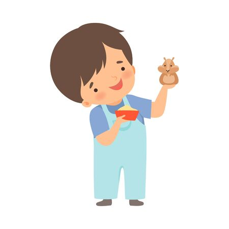 Cute Little Boy Feeding His Hamster, Adorable Kid Caring for Animal Cartoon Vector Illustration on White Background.