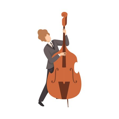 Young Man Playing Double Bass, Male Jazz Musician Character in Elegant Suit with Musical Instrument Vector Illustration on White Background. Иллюстрация