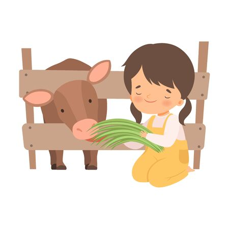 Cute Little Girl Feeding Calf with Grass, Adorable Kid Caring for Animal at Farm Cartoon Vector Illustration on White Background.