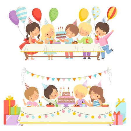 Cute Boys and Girls Sitting at Festive Table with Cake and Balloons Set, Happy Kids at Birthday Party Vector Illustration on White Background.