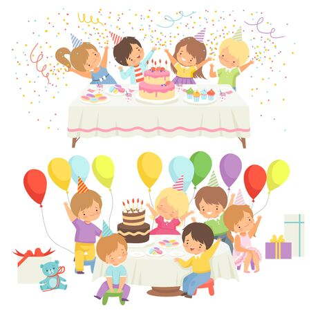 Happy Kids at Birthday Party Set, Cute Boys and Girls Sitting at Festive Table with Cake Vector Illustration on White Background. Illustration