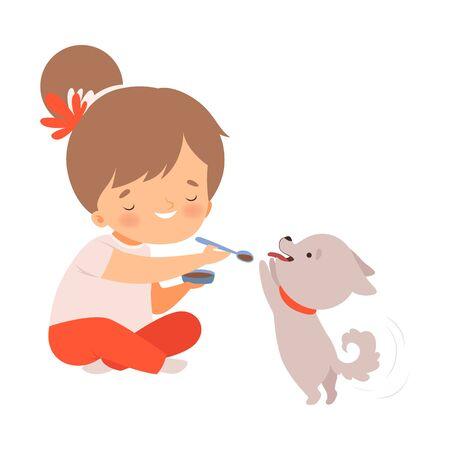 Mignonne petite fille nourrir son chiot, adorable enfant qui s'occupe d'Animal Cartoon Vector Illustration sur fond blanc.