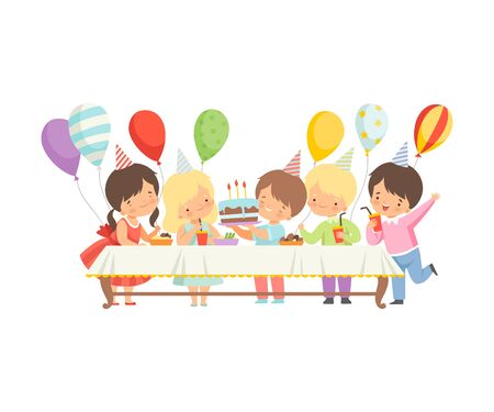 Cute Boys and Girls in Party Hats Sitting at Festive Table with Sweets and Cake, Happy Birthday Party Celebration Vector Illustration on White Background.