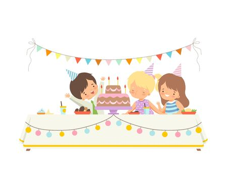 Cute Children Sitting at Festive Table, Adorable Girl Blowing Candles on Festive Cake, Happy Birthday Party Celebration Vector Illustration on White Background.